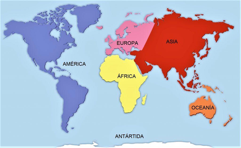 mapa mundi continentes con nombres
