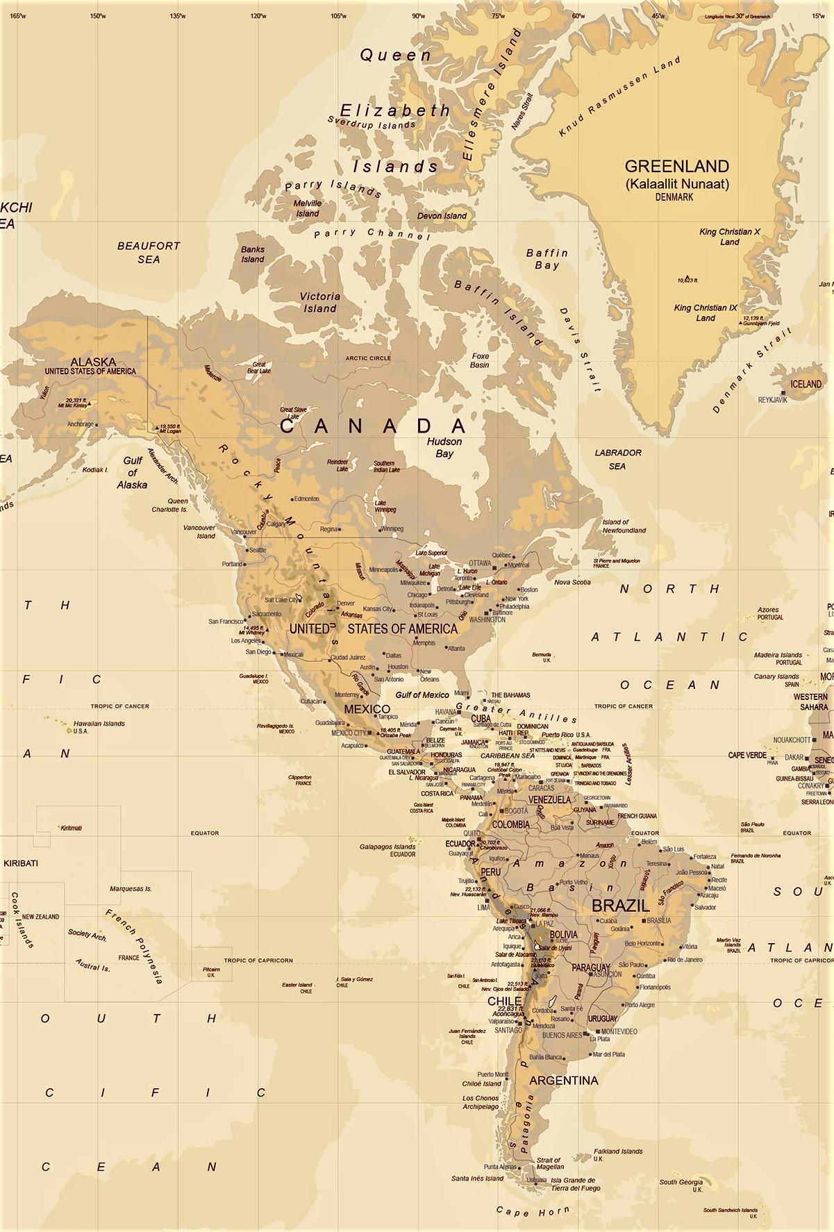 Mapa De America Para Imprimir Politico Fisico Mudo Con