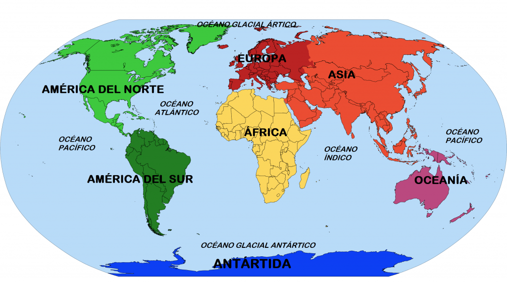 Mapa de continentes y oceanos