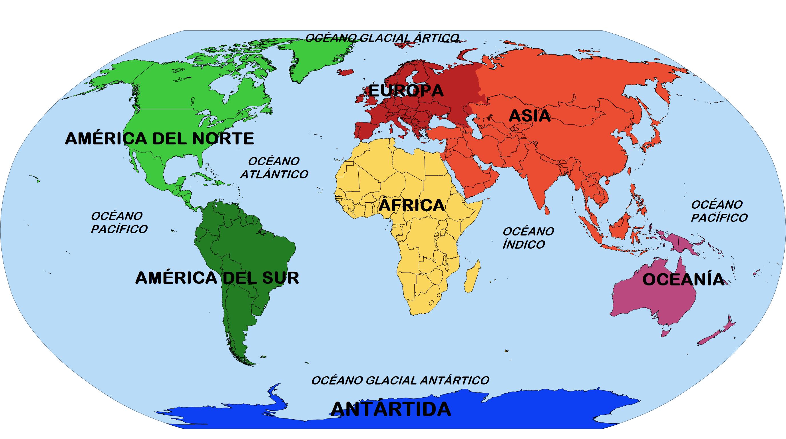 Mapa De Continentes Con Nombres Mudo En Blanco Imprimir