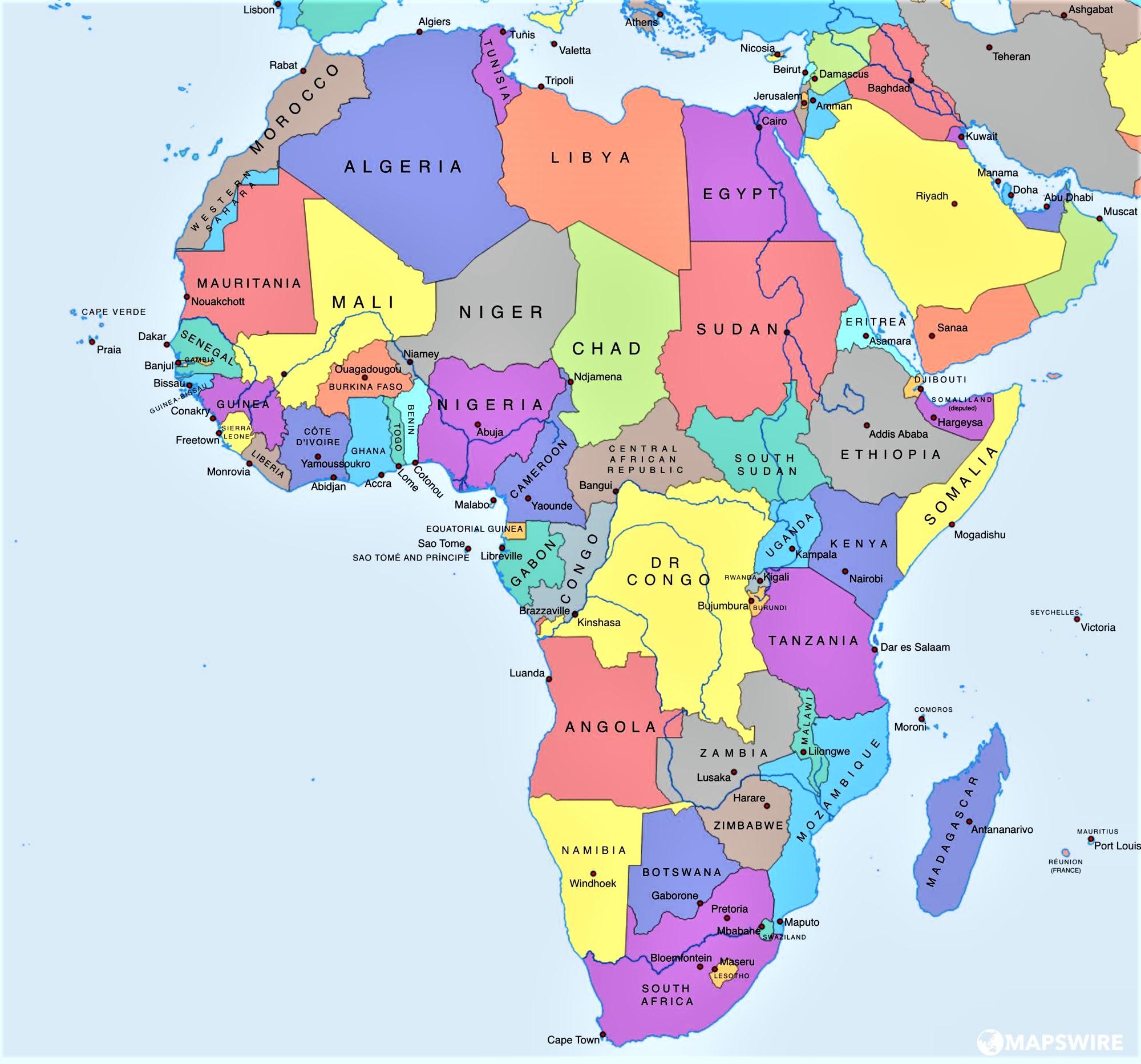 ▷ Mapa de África para imprimir   Político   Físico   Mudo ...