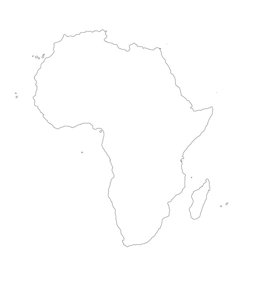 mapa africa continente vacio