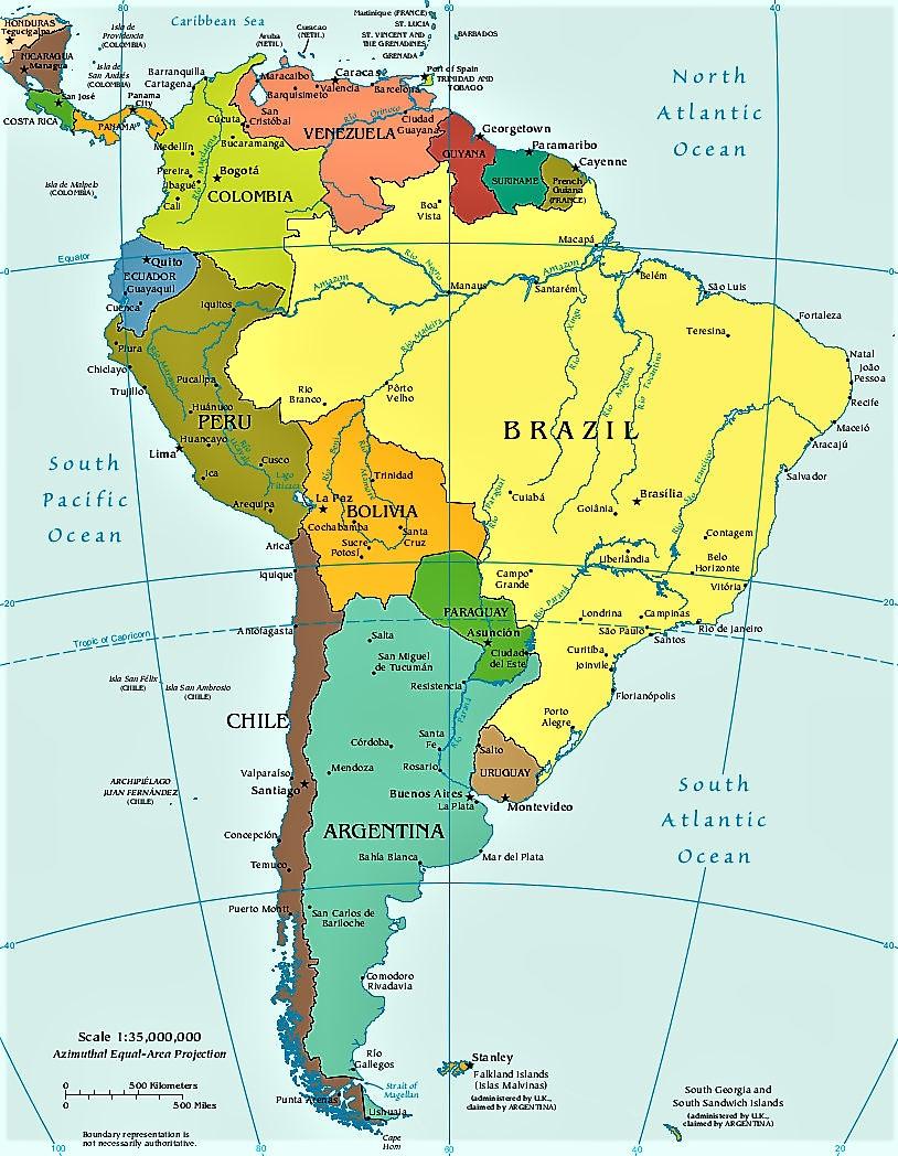 Mapa America Del Sur Mapas De Sudamerica Suramerica