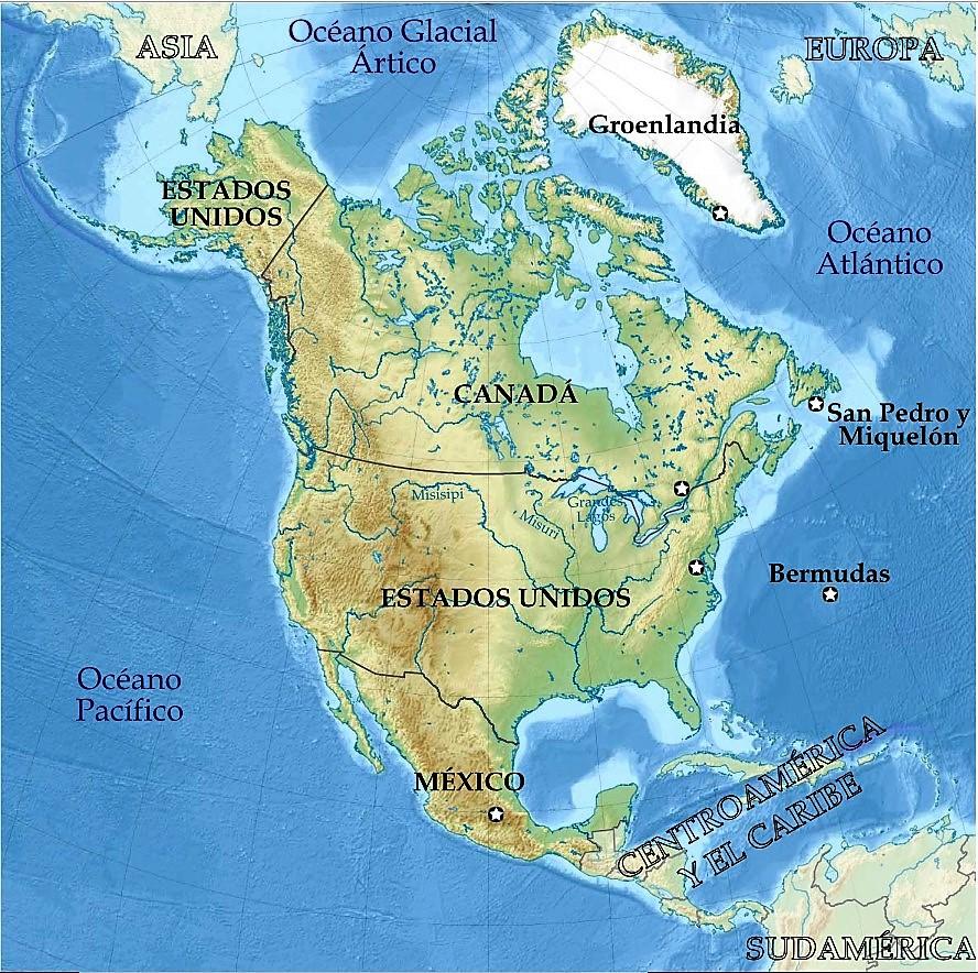 mapa norteamerica politico para imprimir