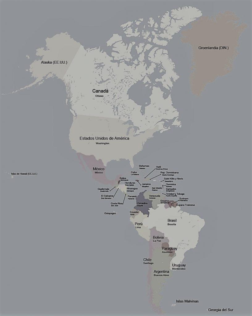 mapa america politico capitales