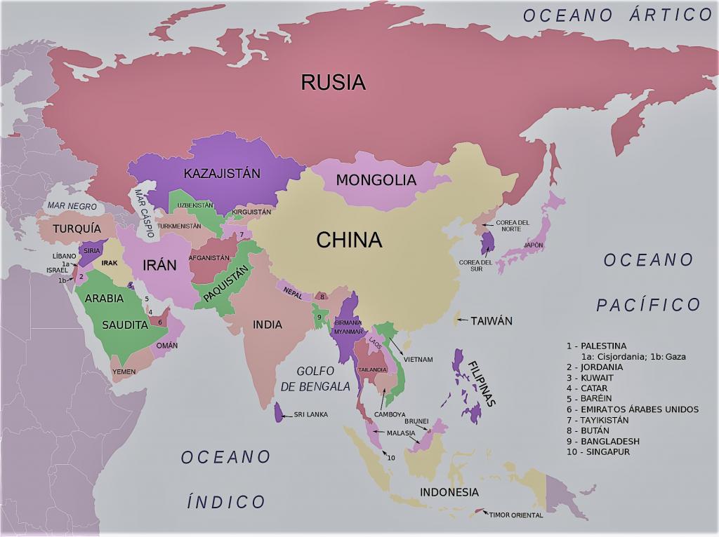 mapa asia nombres español
