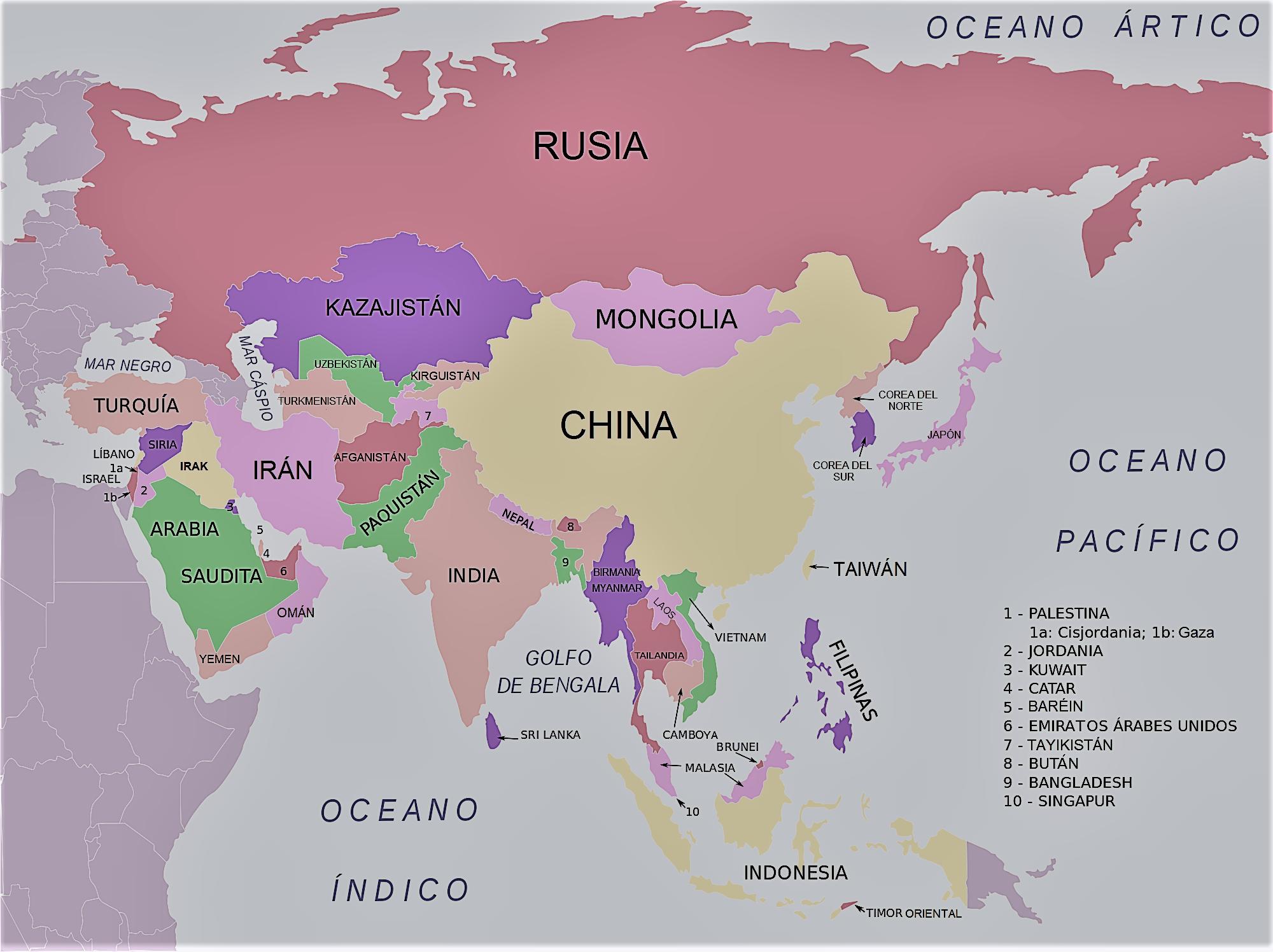 Mapa Politico De Asia Para Imprimir.Mapa De Asia Para Imprimir Mapamundi Politico Fisico