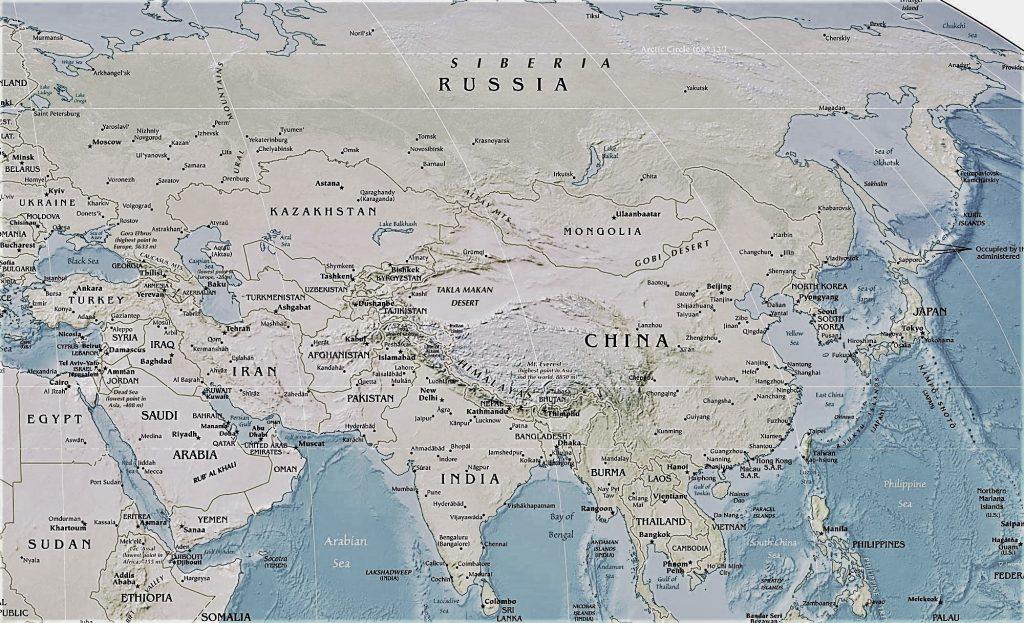 mapaundi fisico asia