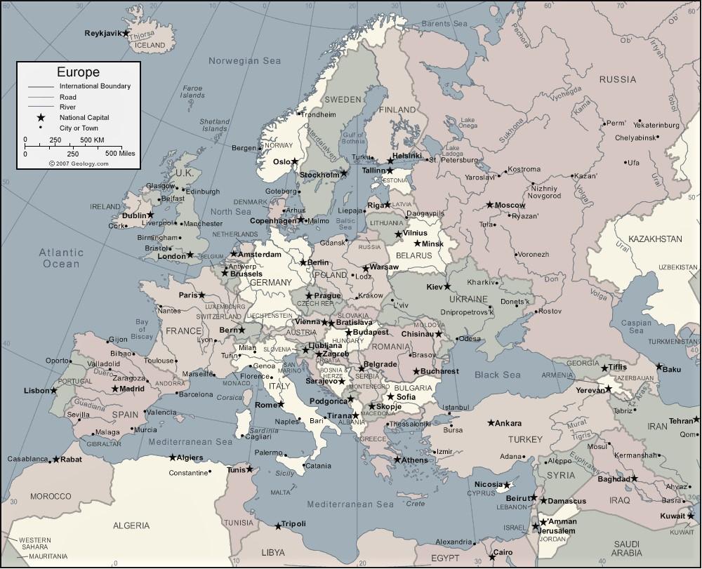 mapa europa con nombres en ingles