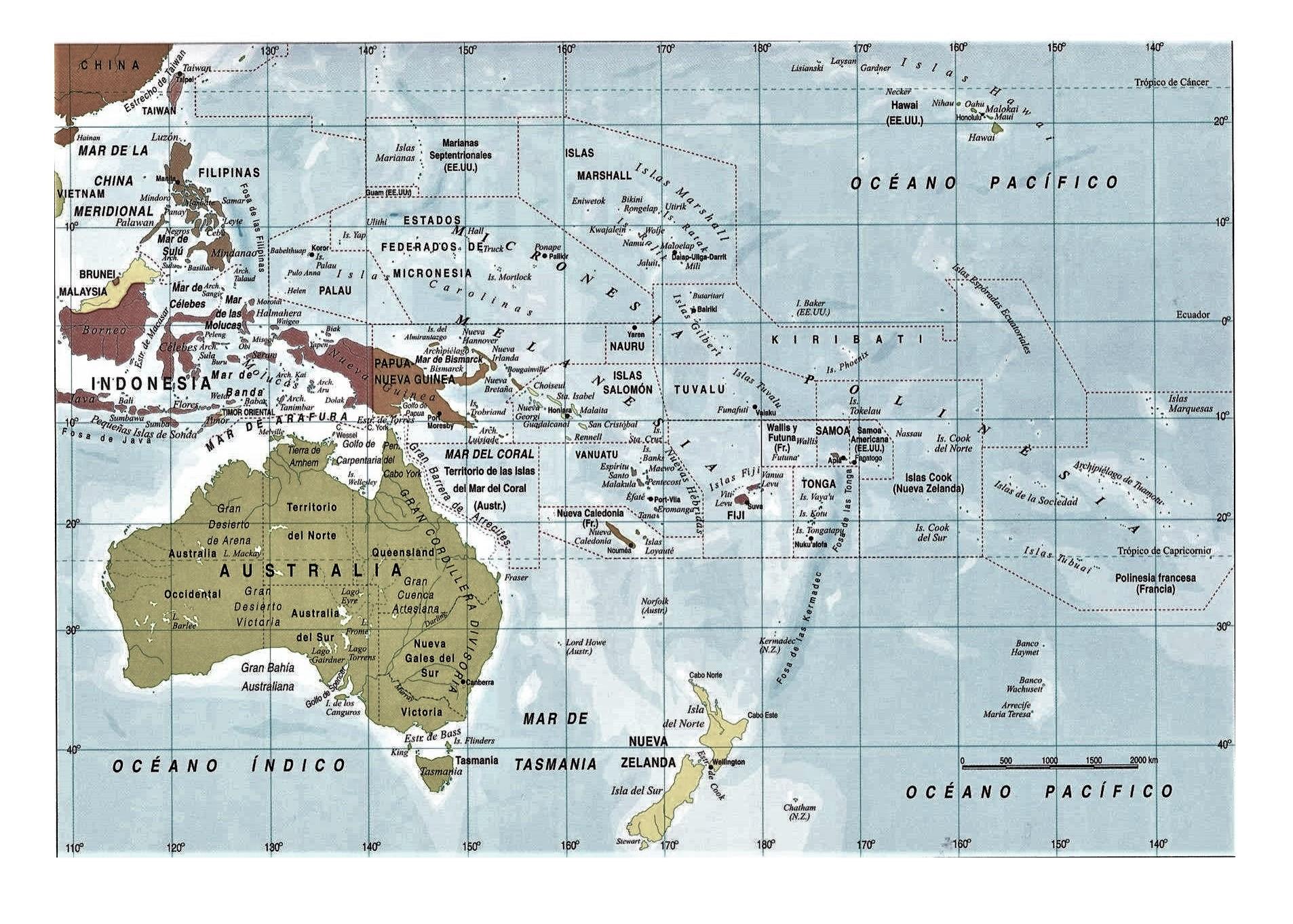 Mapa De Oceania Fisico En Español.Mapa De Oceania Politico Fisico Con Nombres