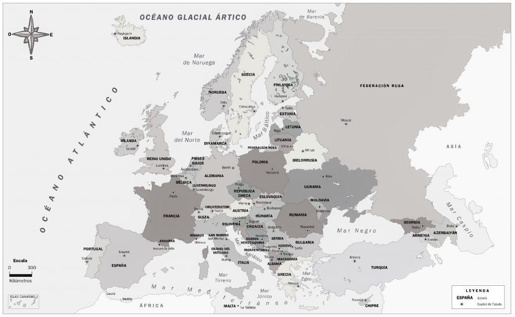 mapa politico europa con capitales