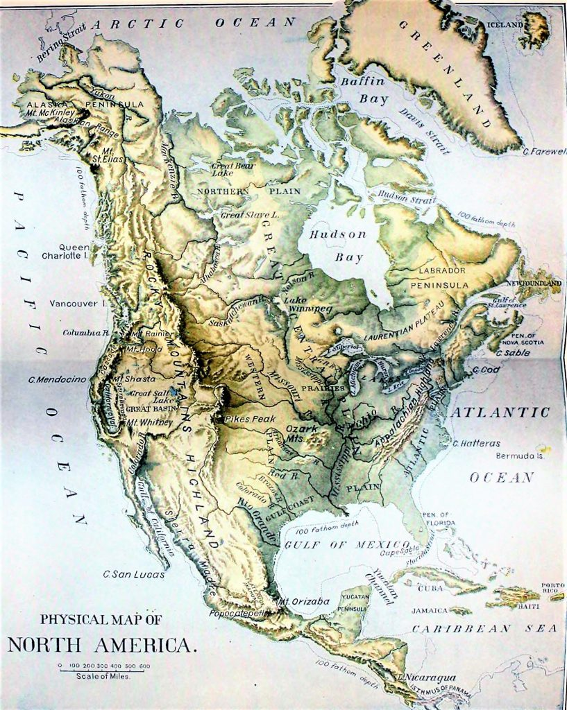 mapa norteamerica fisico