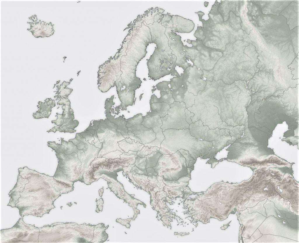 mapa de europa fisico mudo