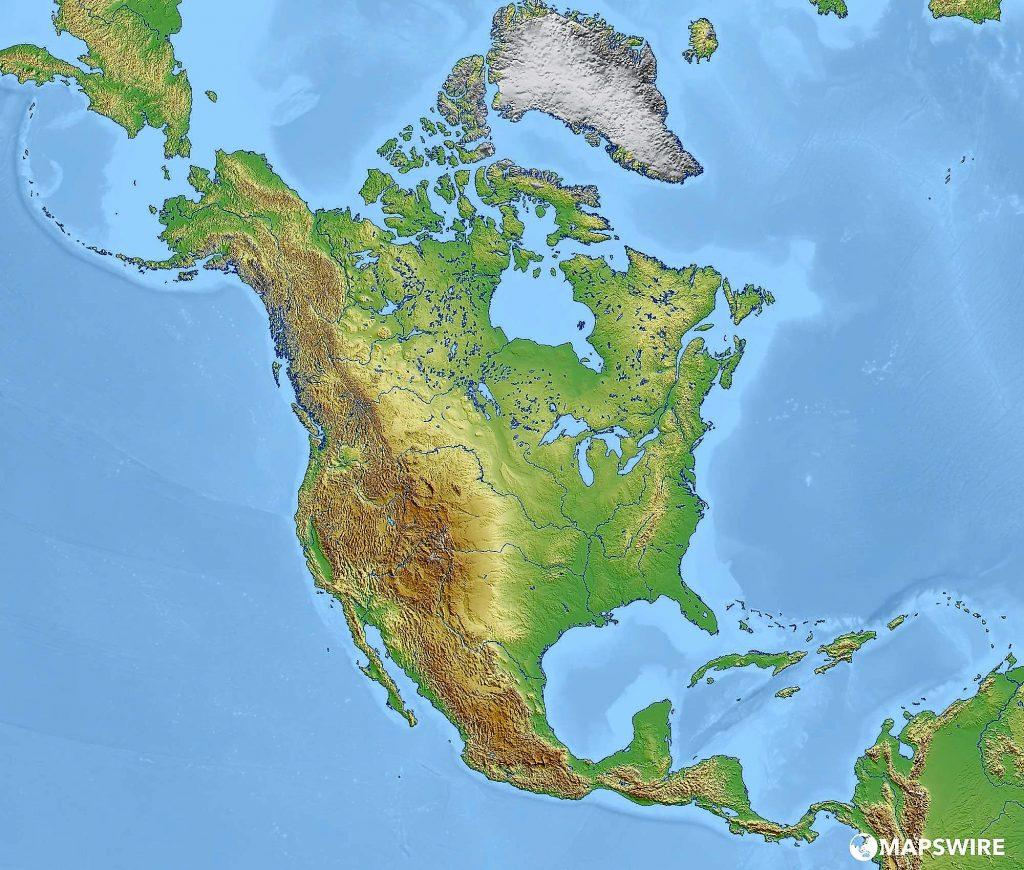 mapa norte america fisico mudo