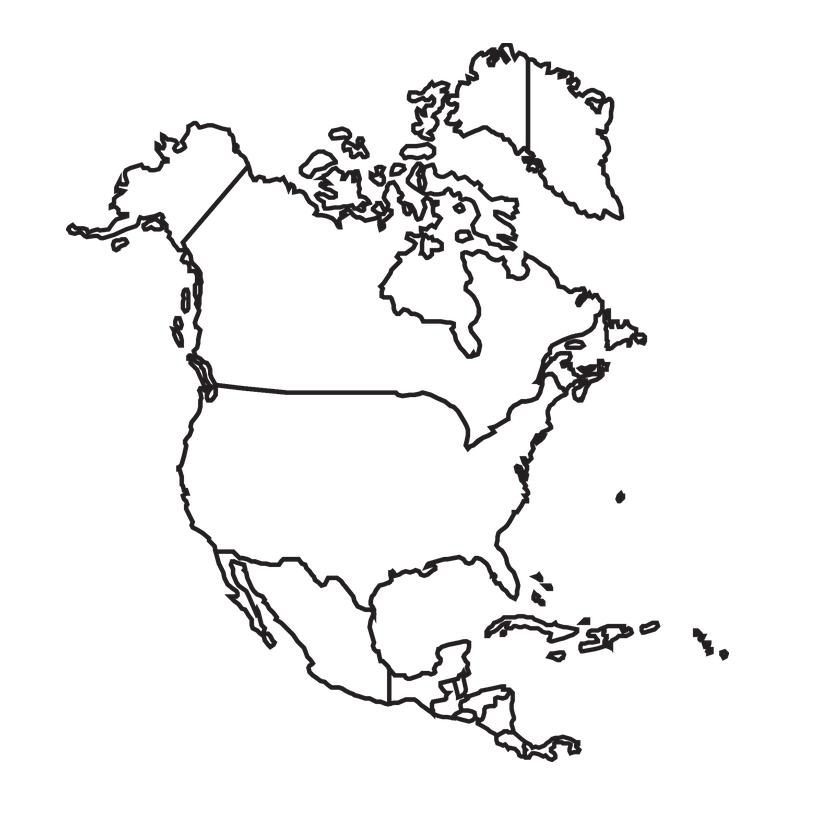 mapa norteamerica para colorear