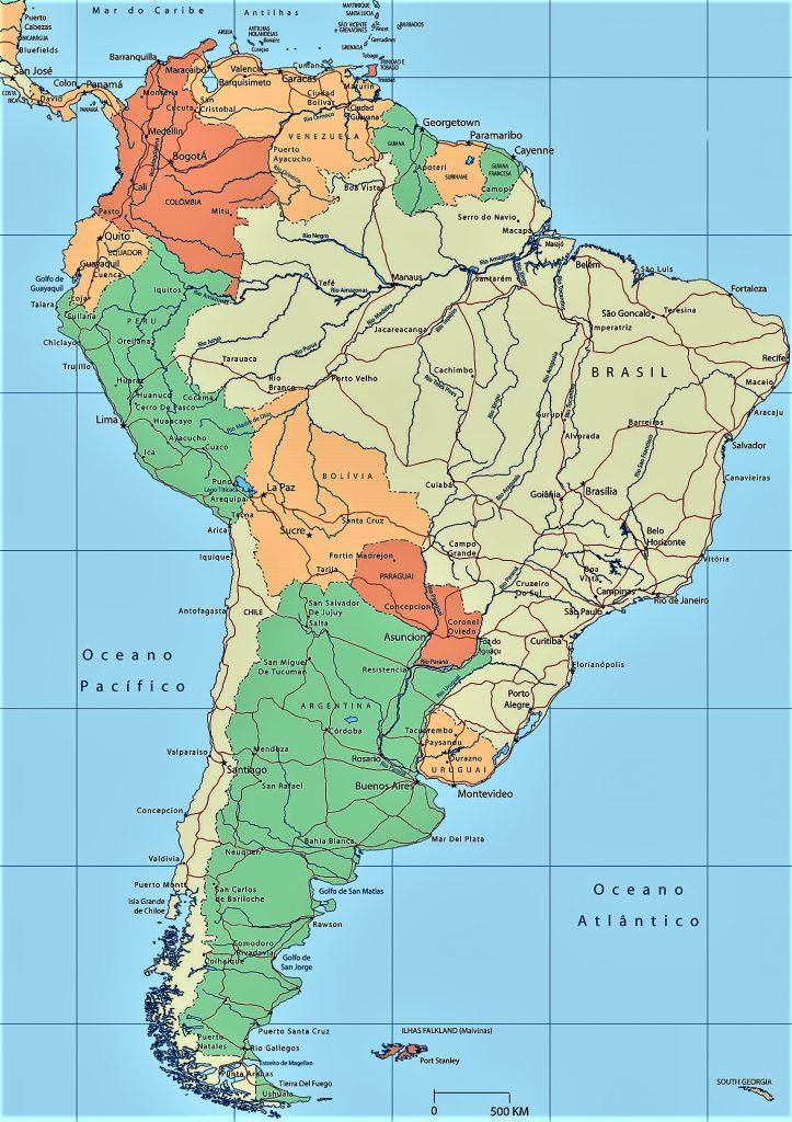 mapa politico sudamerica