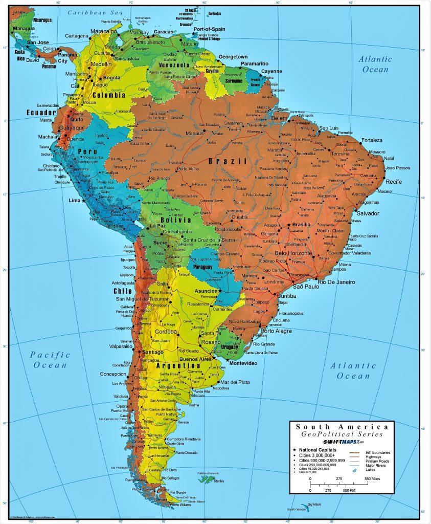 mapa america del sur imprimir