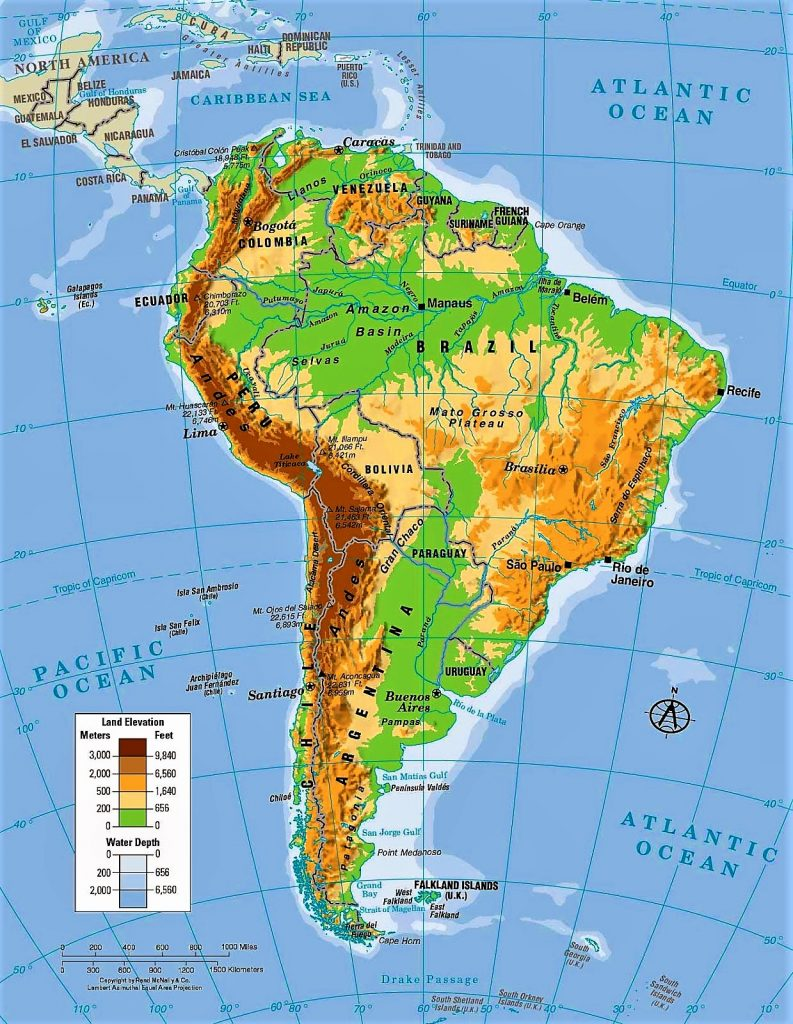 mapa fisico sudamerica