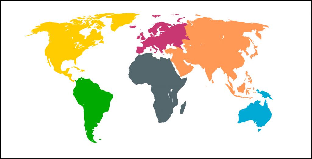mapa mundi continentes mudo