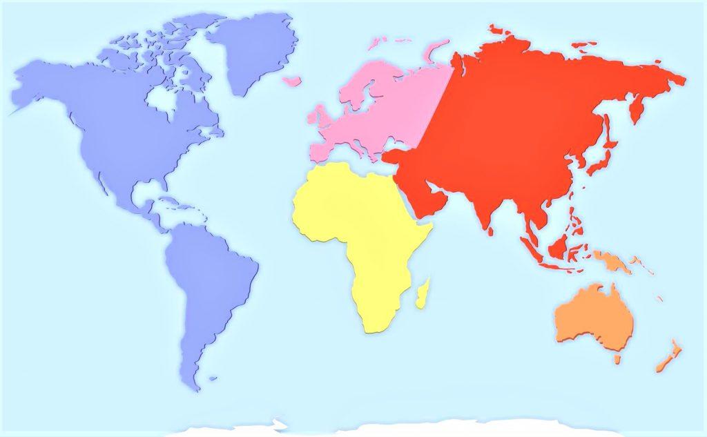 mapa mundial de los continentes