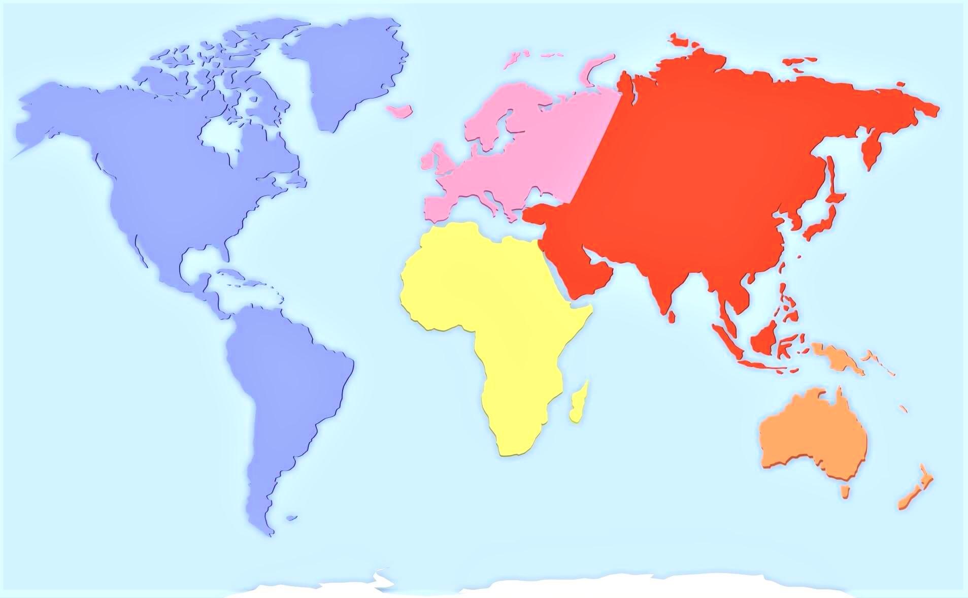 Mapa Del Mundo Mudo.Mapa De Continentes Con Nombres Mudo En Blanco
