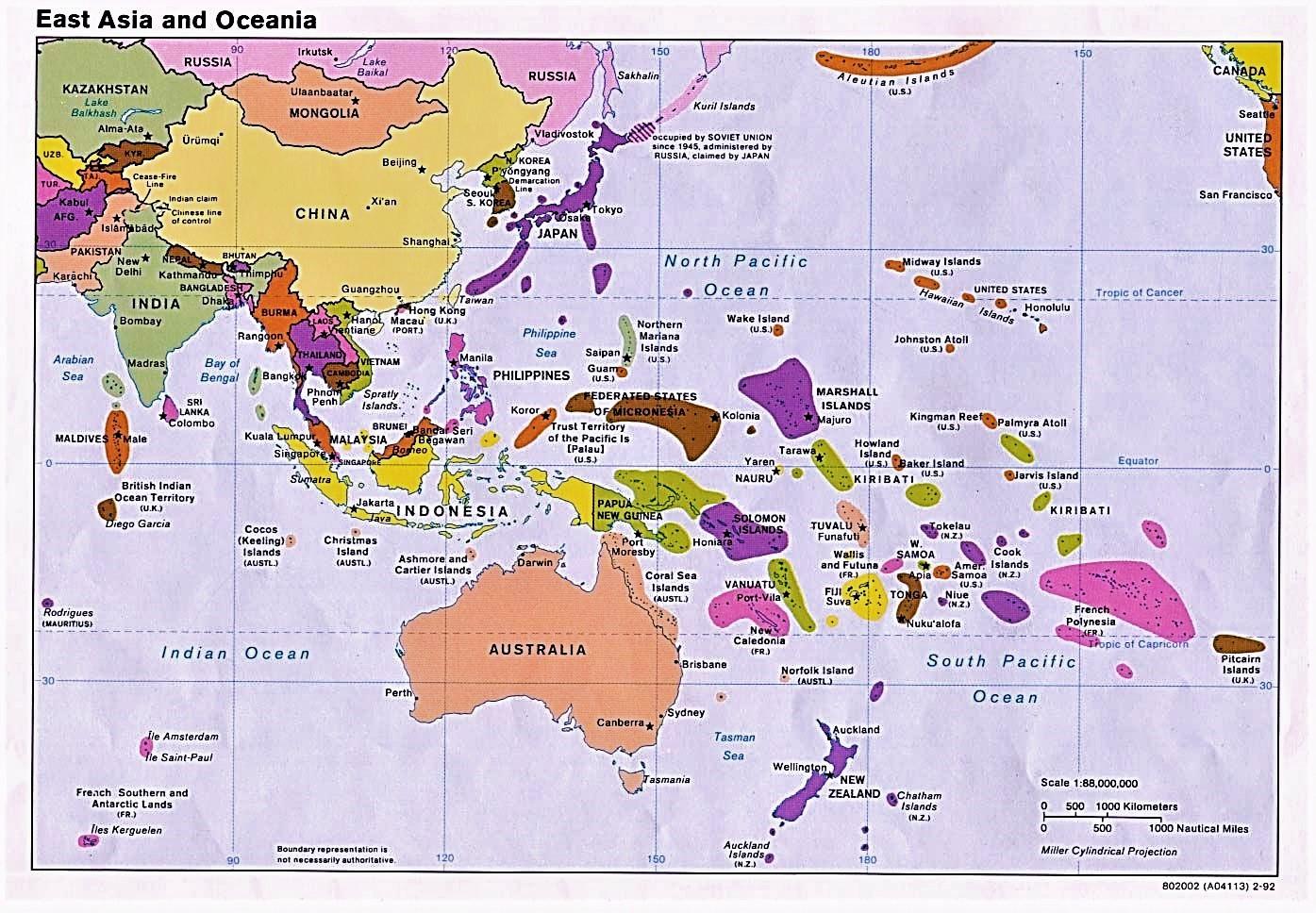 Mapa De Oceanía Político Físico Con Nombres Para Colorear