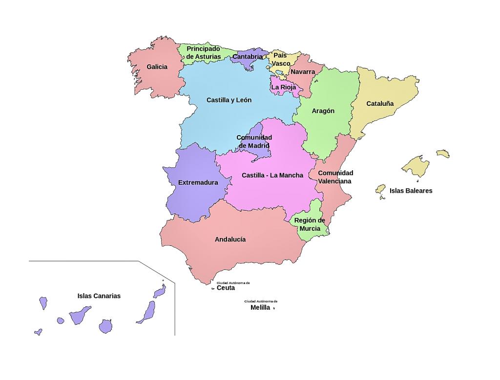 mapa españa comunidades autonomas