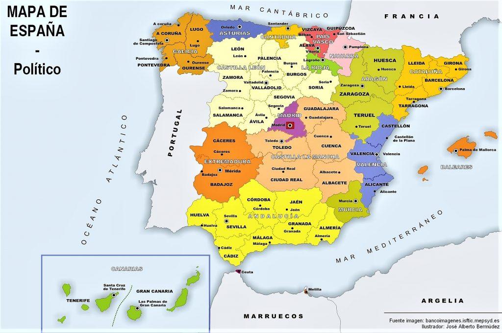mapa politico españa nombres