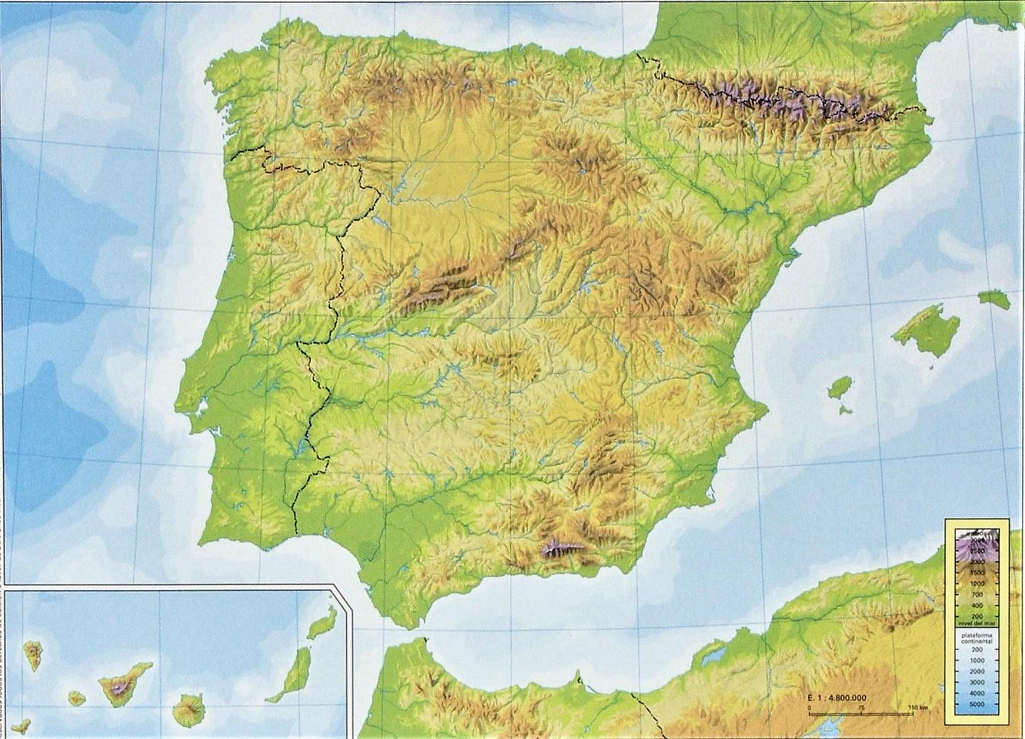 Mapa Relieve España Mudo.Mapa De Espana Politico Fisico Mudo Con Nombres