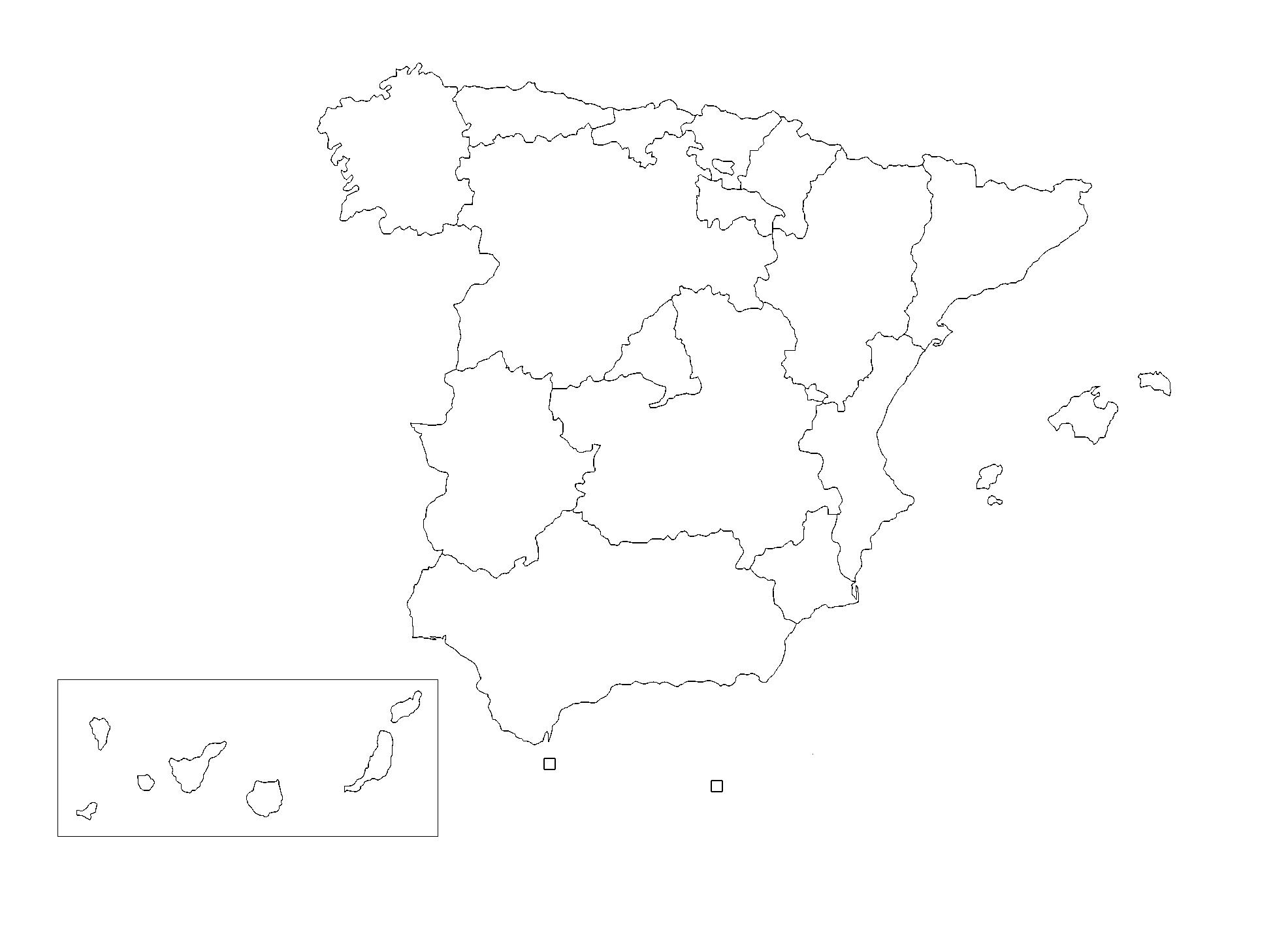 Mapa España Comunidades Autonomas Png.Mapa De Espana Politico Fisico Mudo Con Nombres